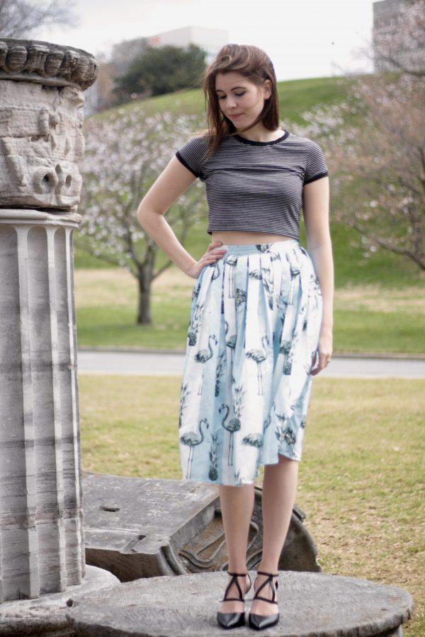 Pine-Mingo | Greta Hollar - Fun Flamingo Skirt  by Nashville fashion blogger Greta Hollar