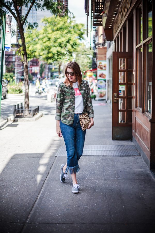 Camo Jacket & Fringe Jeans | Greta Hollar - Green Camo Jacket & Fringe Jeans at NYFW by Nashville fashion blogger Greta Hollar