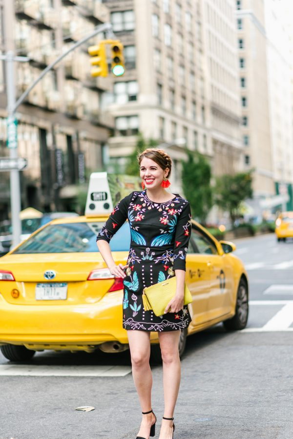 Black Embroidered Mini Dress and NYFW Day 3 | Greta Hollar