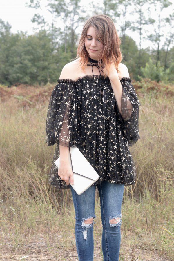 Black Tulle Off the Shoulder Top | Greta Hollar - Black Off the Shoulder Top by Nashville Fashion blogger Greta Hollar