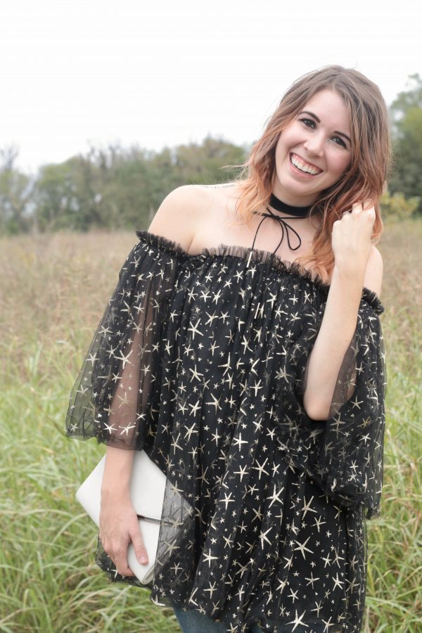 Black Tulle Off the Shoulder Top | Greta Hollar