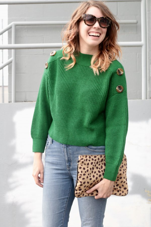 Button Knit Sweater That's $65 | Greta Hollar - Button Knit Green Sweater That's $65 by Nashville fashion blogger Greta Hollar