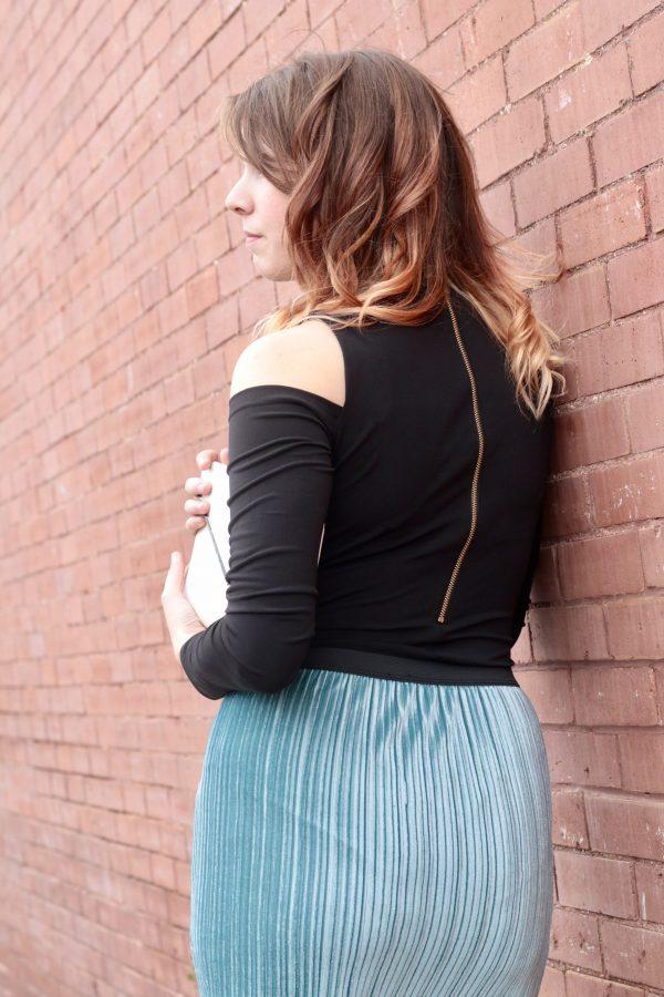 Velvet Pleated Skirt That's $55 | Greta Hollar - Velvet Pleated Skirt That's Only $55 by Nashville fashion blogger Greta Hollar