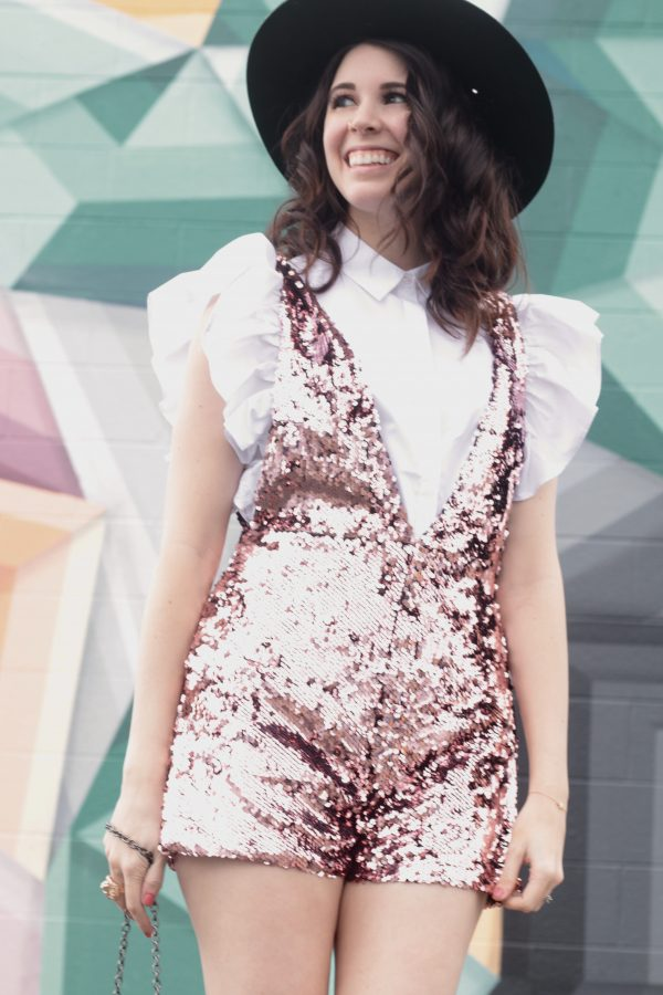 The Sequin Romper You Never Knew You Needed | Greta Hollar - Sequin Romper styled by popular Nashville fashion blogger Greta Hollar