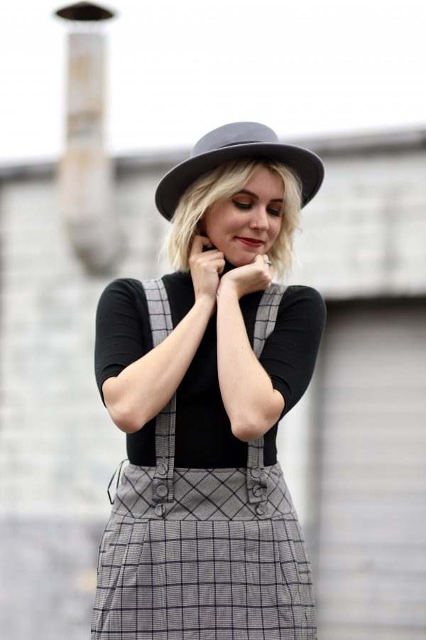 Overall Skirt Dress + My Favorite Plaid at Shopbop featured by top Nashville fashion blog Greta Hollar