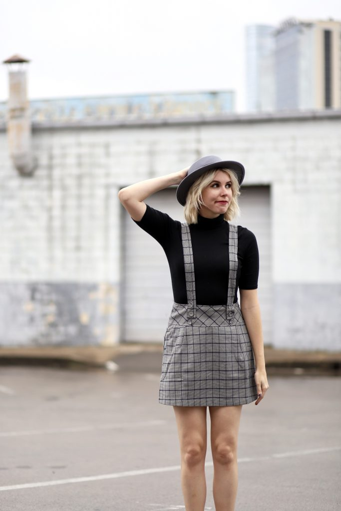 Overall Skirt Dress + My Favorite Plaid at Shopbop