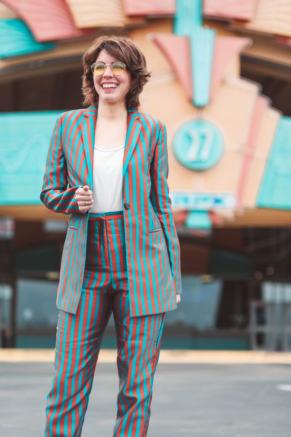 Striped Suit featured by top US tall fashion blogger Greta Hollar; Image of a woman wearing a striped suit from ASOS.