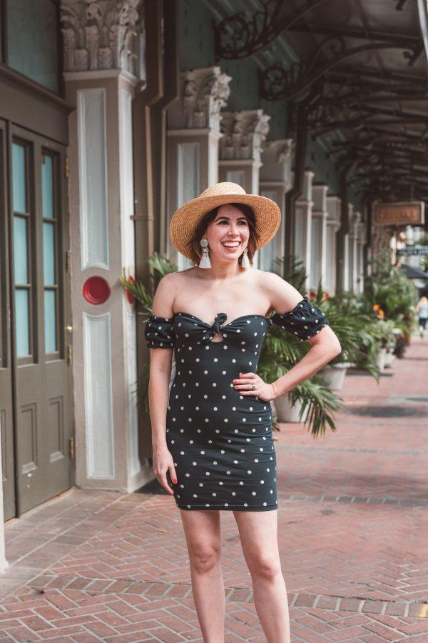 Polka Dot Sundress featured by top US fashion blogger Greta Hollar; Image of a woman wearing an ASOS polka dot dress, sunhat and heels.