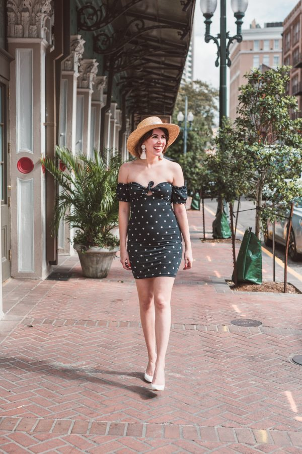 Polka Dot Sundress featured by top US fashion blogger Greta Hollar; Image of a woman wearing an ASOS polka dot dress, sunhat and heels.