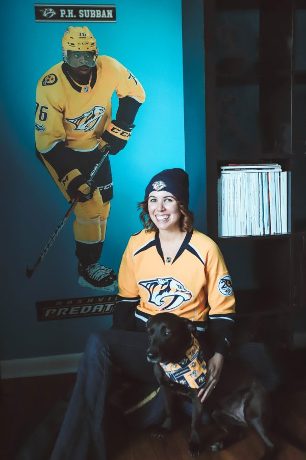 Stanley Cup Playoff Party featured by top US lifestyle blogger Greta Hollar; Image of a woman wearing a hockey jersey.