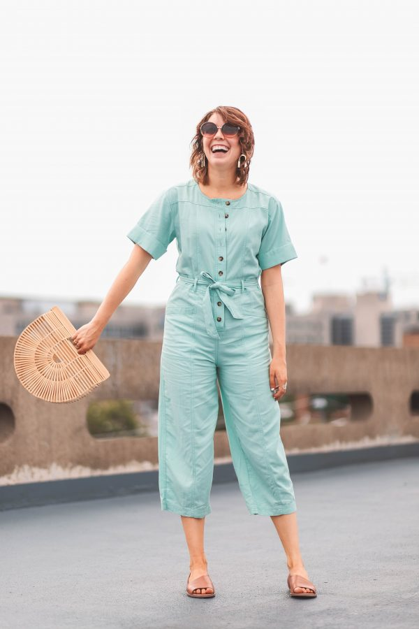 Mint Madewell Jumpsuit | Greta Hollar | What to Wear in Nashville by popular Nashville tall fashion blogger, Greta Hollar: image of Greta Hollar wearing a mint Madewell jumpsuit.