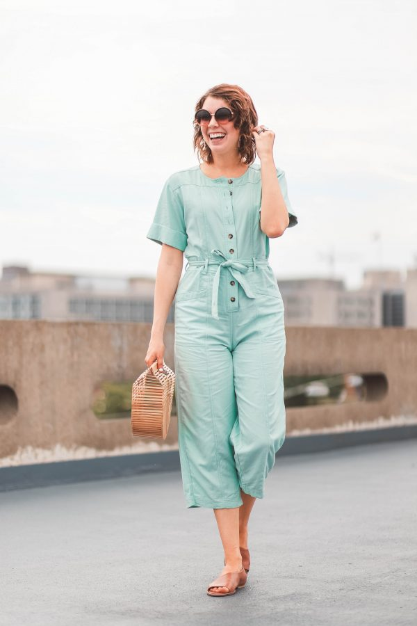 Festival Shoes featured by top US fashion blogger Greta Hollar; Image of a woman wearing Seychelles shoes and Mint Madewell Jumpsuit.