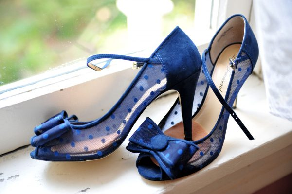 4th of July Wedding | Greta Hollar | 4th of July Wedding by popular lifestyle blogger Greta Hollar: image of blue peep toe heel DSW shoes.