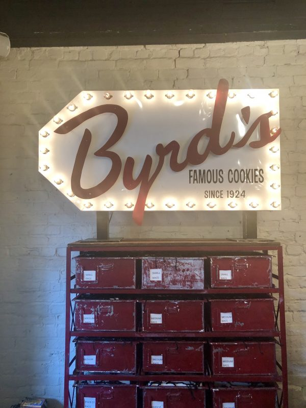 Savannah Travel Guide | Greta Hollar | The Ultimate Savannah Travel Guide by popular Nashville lifestyle blogger, Greta Hollar: image of byrd's famous cookies sign in Savannah, GA.