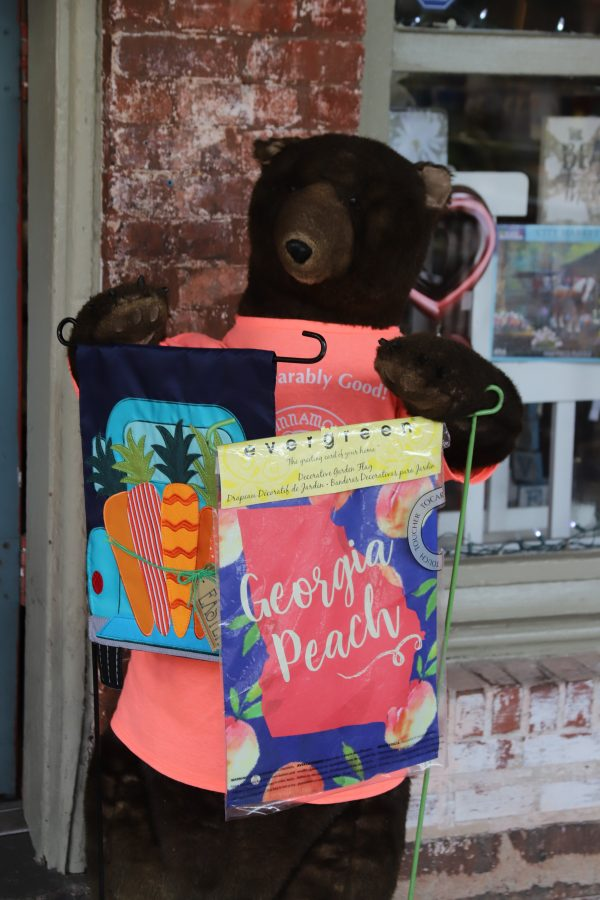 Savannah Travel Guide | Greta Hollar | The Ultimate Savannah Travel Guide by popular Nashville lifestyle blogger, Greta Hollar: image of stuffed bear holding lawn flags.