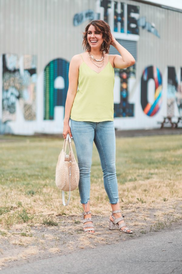Festival Shoes featured by top US fashion blogger Greta Hollar; Image of a woman wearing Seychelles shoes and yellow top.