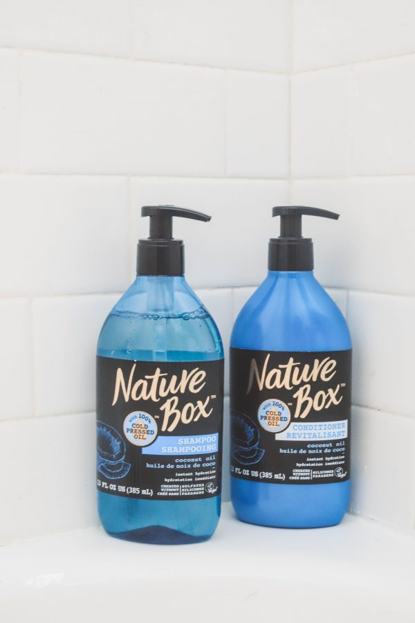 5 Ways to Pamper Yourself at Home | Greta Hollar | 5 Ways to Pamper Yourself at Home by popular Nashville beauty blogger, Greta Hollar: image of Nature Box shampoo and conditioner.