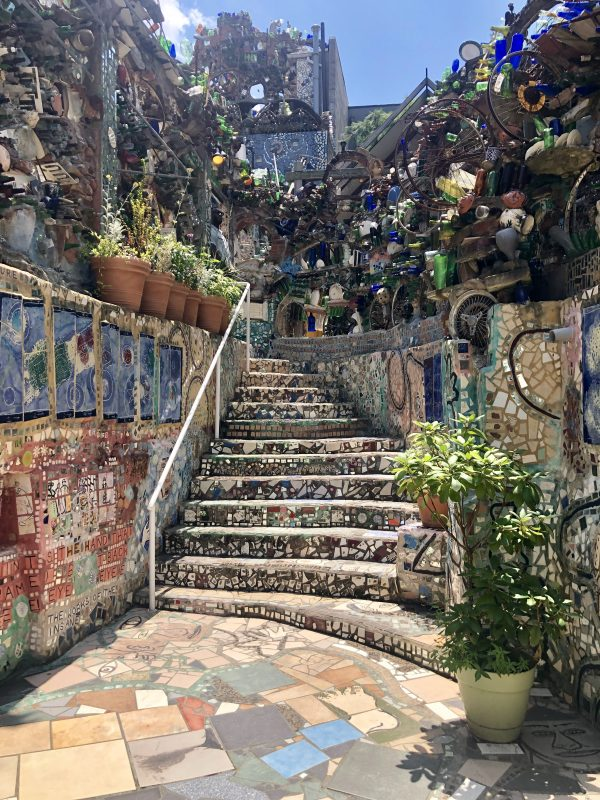Weekend in Philly | Travel Guide | Greta Hollar | Weekend in Philadelphia | Travel Guide by popular Nashville travel blog, Greta Hollar: image of a staircase in the Magic Gardens.