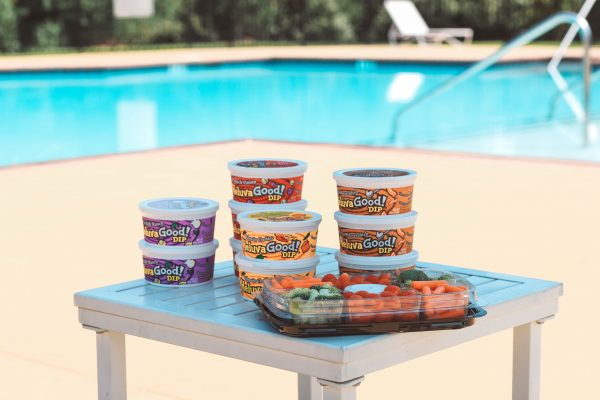 Taking a Dip with Heluva Good! Dip | Greta Hollar | Taking a Dip with Heluva Good! Dip by popular Nashville life and style blogger, Greta Hollar: image of Heluva Good! Dip containers and a veggie tray.