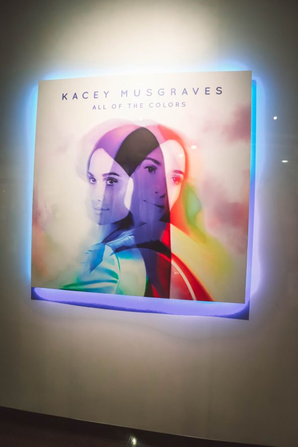Troubadour Membership at The Country Music Hall of Fame and Museum | Greta Hollar | Troubadour Membership at The Country Music Hall of Fame and Museum in Nashville by popular Nashville blogger, Greta Hollar: image of an enlarged Kacey Musgraves All the Colors album cover at the Country Music Hall of Fame and Museum