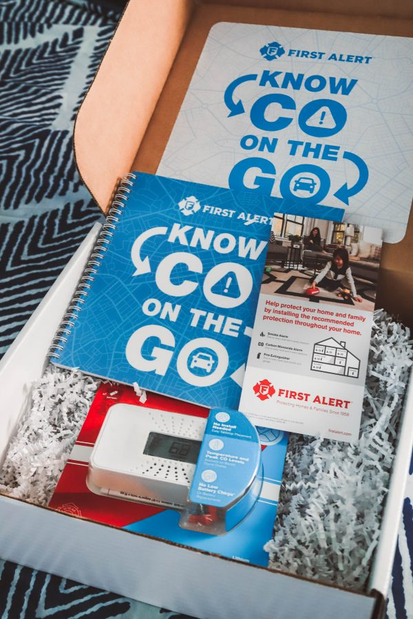 The One Thing I'm Packing for My End of Summer Vacation? My First Alert CO Alarm!   Greta Hollar   The One Thing I'm Packing for My End of Summer Vacation? My First Alert CO Alarm! by popular Nashville life and style blogger, Greta Hollar: image of an opened First Alert CO Alarm box.