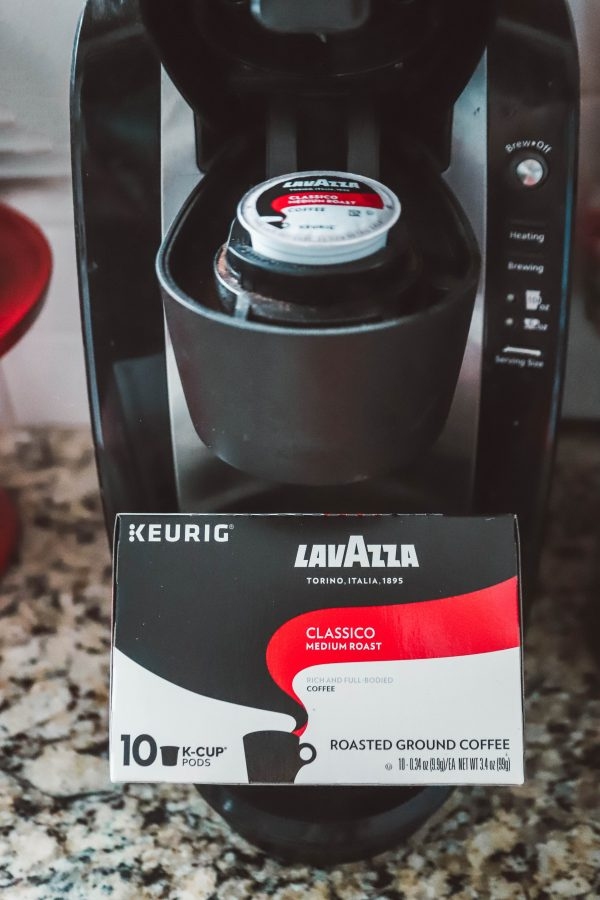 Coffee-Cocoa Snack Cake | Greta Hollar | Coffee Chocolate Cake by popular Nashville life and style blogger, Greta Hollar: image of a Keurig coffee machine with a Keurig Lavazza coffee k pod.
