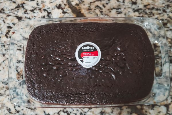 Coffee-Cocoa Snack Cake | Greta Hollar | Coffee Chocolate Cake by popular Nashville life and style blogger, Greta Hollar: image of a coffee chocolate cake and a Keurig Lavazza coffee k pod.