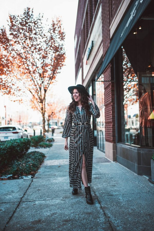 Nashville Fashion: How to Dress Like a Local | Greta Hollar | Nashville Style: How to Dress Like a Local by popular Nashville fashion blogger, Greta Hollar: image of a woman outside wearing a Free People Sequin Maxi Dress, Asos leather double buckle western waist and hip belt, Brixton hat, Marc Fisher LTD Dream Moto Boot.