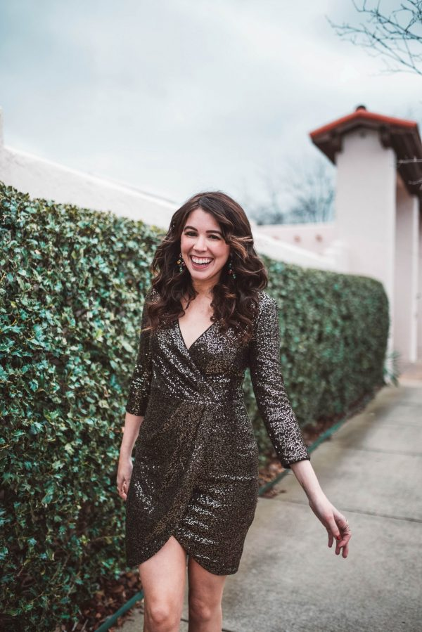 2 Outfit Ideas for New Year's Eve | Greta Hollar | 2 New Year's Eve Outfit Ideas by popular Nashville fashion blogger, Greta Hollar: image of a woman wearing an Eliza J. sequin dress and Bauble Bar TRIMMINGS DROP EARRINGS.