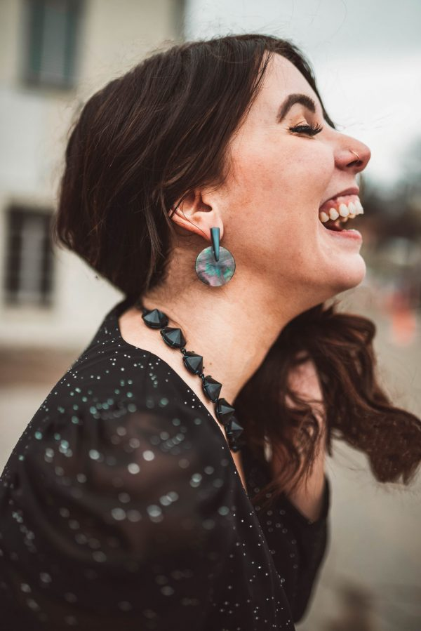 3 of My 2020 Blog Goals | Greta Hollar | 3 of My 2020 Blog Goals by popular Nashville US blogger, Greta Hollar: side profile image of a woman wearing a black dress and black jewelry.