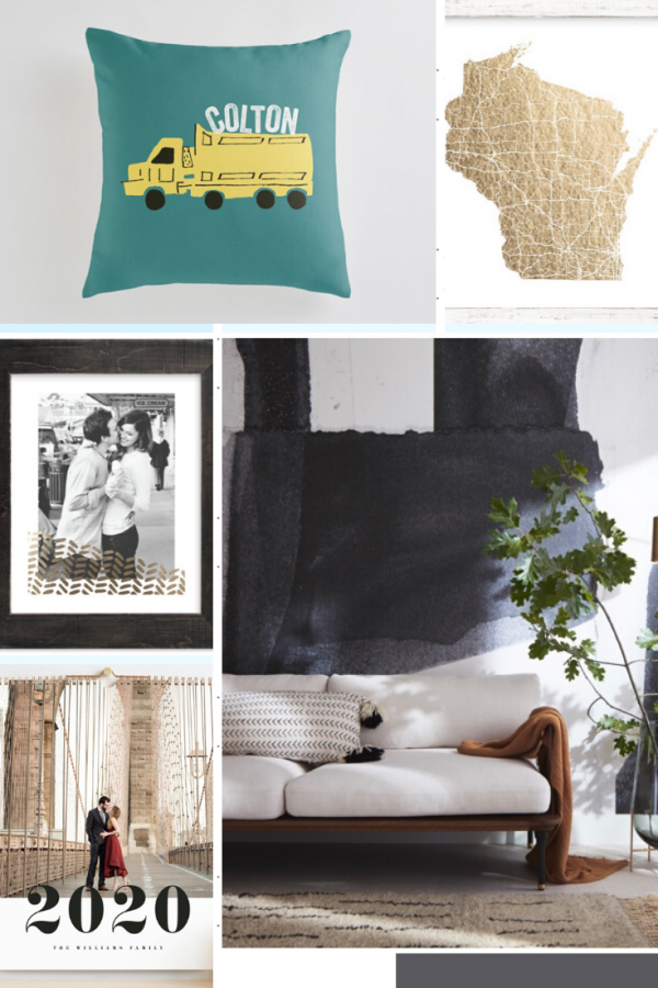 Personal Gift Ideas with Minted | Greta Hollar | Personalized Gift Ideas with Minted by popular Nashville life and style blogger, Greta Hollar: collage image of a Minted personalized pillow, Minted custom calendar, Minted custom photo, Minted state print, and Minted wallpaper.