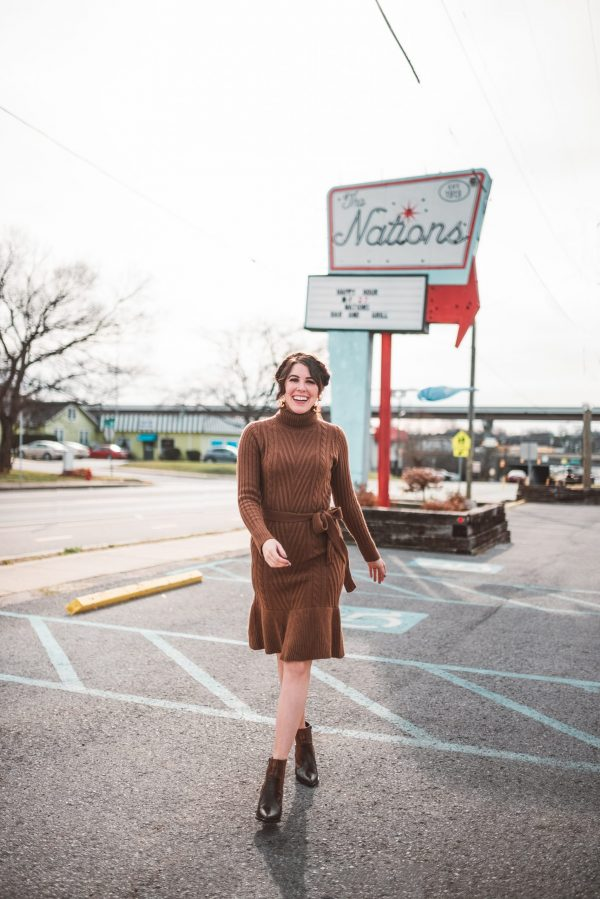 Top 5 Best Romantic Restaurants in Nashville for Valentine's Day Dinner | Greta Hollar | Cute Madewell Winter Sweater Dresses by popular Nashville tall fashion blogger, Greta Hollar: image of a woman wearing a brown Madewell sweater dress.