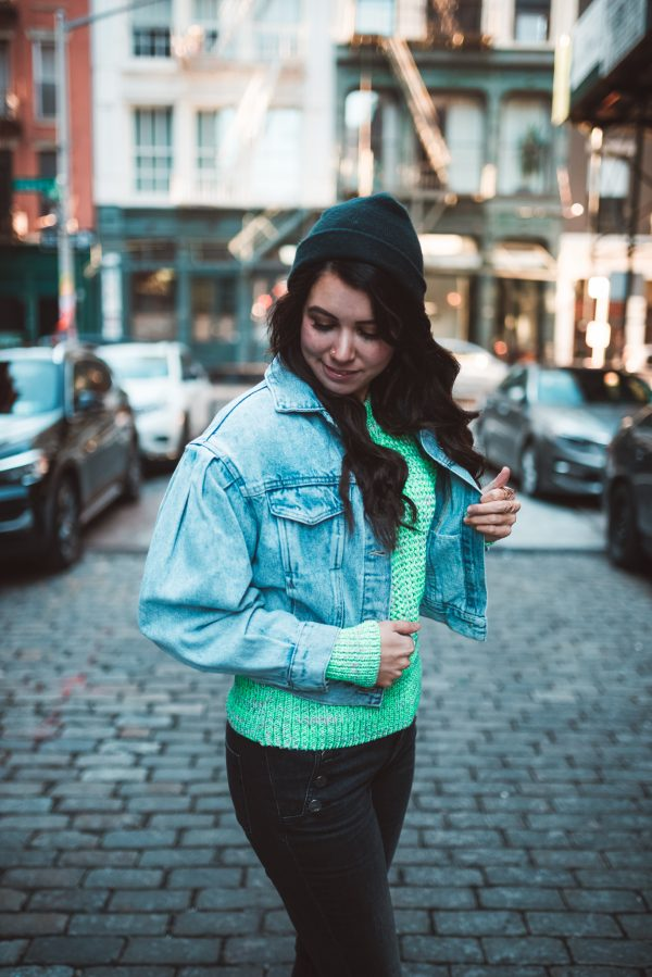 H&M Spring Collection: 3 Must Haves | Greta Hollar | H&M Clothing by popular Nashville tall fashion blogger, Greta Hollar: image of a woman wearing a H&M puff sleeve denim jacket.