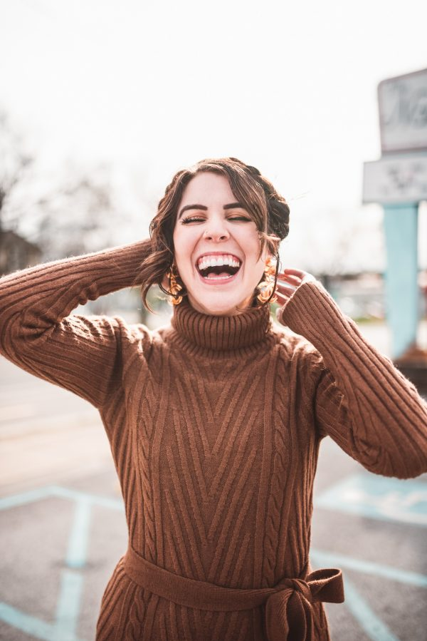 Top 10 Cute Winter Sweater Dresses from Madewell | Greta Hollar | Cute Madewell Winter Sweater Dresses by popular Nashville tall fashion blogger, Greta Hollar: image of a woman wearing a brown Madewell sweater dress.
