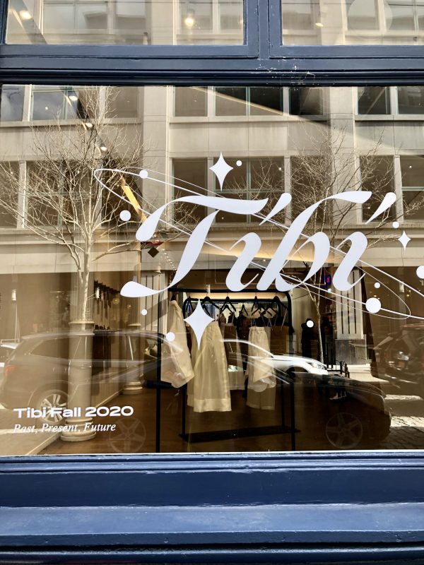 NYFW February Recap by popular US tall fashion blogger, Greta Hollar: image of a Tibi storefront window.
