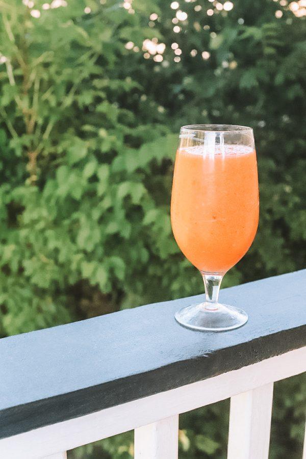 Raspberry Peach Frosé by popular Nashville lifestyle blogger, Greta Hollar: image of raspberry peach frosé.