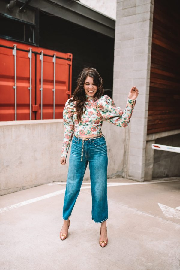 One of my Favorite Spring Trends: Exaggerated Sleeves | Greta Hollar | Puff Sleeves by popular Nashville tall fashion blogger, Greta Hollar: image of a woman wearing crop flare jeans and a Shopbop ROTATE Jacquard Kim Top.
