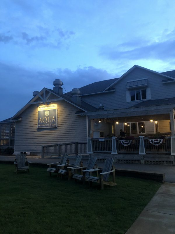 COVID Travel: The Best Things to Do Outer Banks, NC When Social Distancing | Greta Hollar |  Outer Banks NC by popular Nashville travel blogger, Greta Hollar: image of Aqua restaurant and spa.