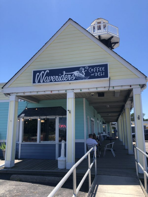 COVID Travel: The Best Things to Do Outer Banks, NC When Social Distancing | Greta Hollar |  Outer Banks NC by popular Nashville travel blogger, Greta Hollar: image of Waveriders coffee and deli.