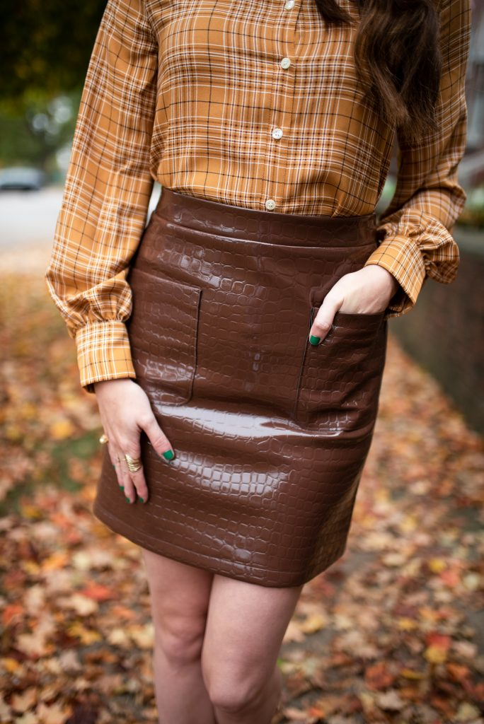 2 Cute Thanksgiving Looks from the Halogen Nordstrom Collaboration | Greta Hollar |Thanksgiving Outfit Ideas by popular Nashville tall fashion blogger, Greta Hollar: image of Greta Hollar wearing a Halogen x Atlantic-Pacific Croc Embossed Faux Leather Miniskirt and Halogen x Atlantic-Pacific Puff Sleeve Button-Up Shirt.
