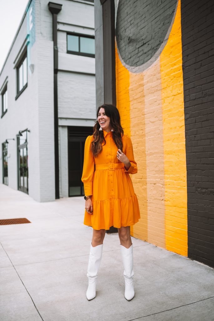 2 Cute Thanksgiving Looks from the Halogen Nordstrom Collaboration | Greta Hollar |Thanksgiving Outfit Ideas by popular Nashville tall fashion blogger, Greta Hollar: image of Greta Hollar wearing a Halogen x Atlantic-Pacific Belted Long Sleeve Shirtdress, white tassel earrings and white boots