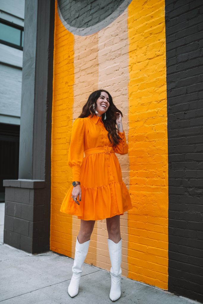 2 Cute Thanksgiving Looks from the Halogen Nordstrom Collaboration | Greta Hollar | Thanksgiving Outfit Ideas by popular Nashville tall fashion blogger, Greta Hollar: image of Greta Hollar wearing a Halogen x Atlantic-Pacific Belted Long Sleeve Shirtdress and white boots.