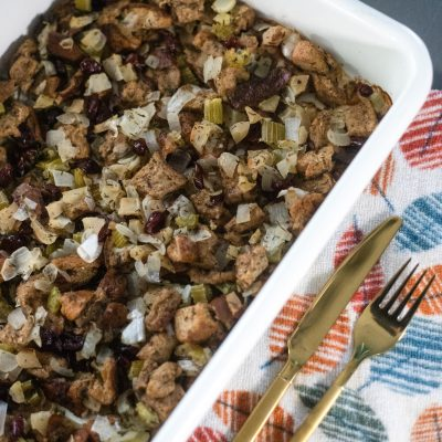 Whole Wheat Bread Apple Cranberry Stuffing | Greta Hollar