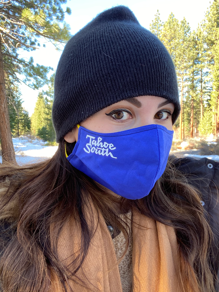 #SierraSafely with Carson Valley & Tahoe South | Greta Hollar | Carson Valley by popular Nashville travel blogger, Greta Hollar: image of Greta Hollar wearing a Tahoe South face mask.