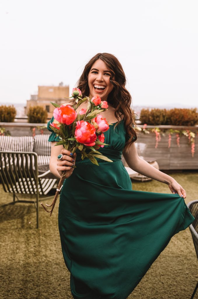 4 Dresses That are Perfect for Spring | Greta Hollar |Spring Dresses by popular Nashville tall fashion blogger, Greta Hollar: image of Greta Hollar wearing a green satin dress.
