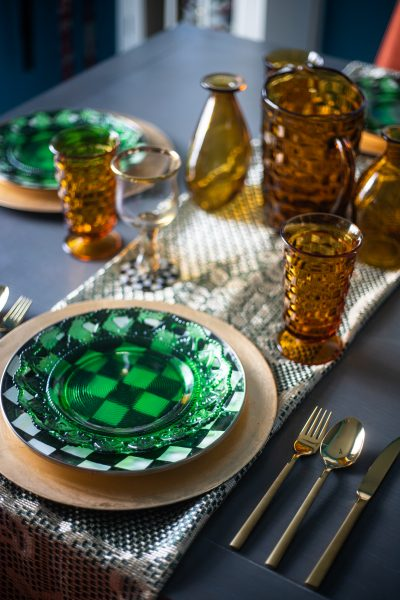 Green and Gold Spring Tablescape Idea | Greta Hollar