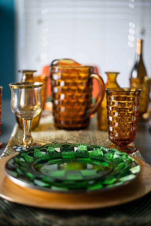 Green and Gold Spring Tablescape Idea | Greta Hollar