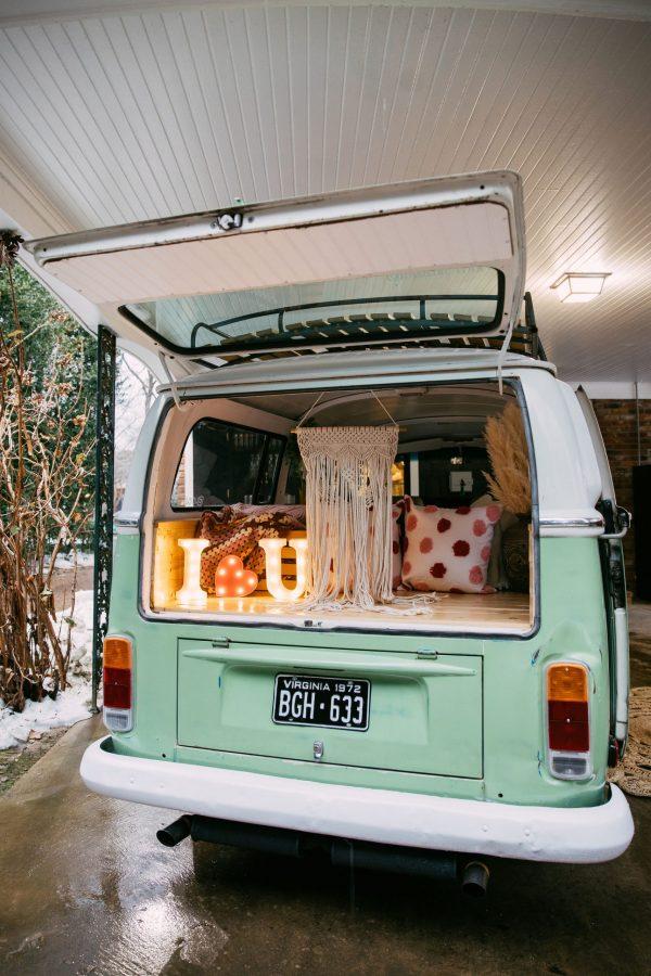 Memphis Trip by popular Nashville travel blogger, Greta Hollar: image of a green VW van photo booth.