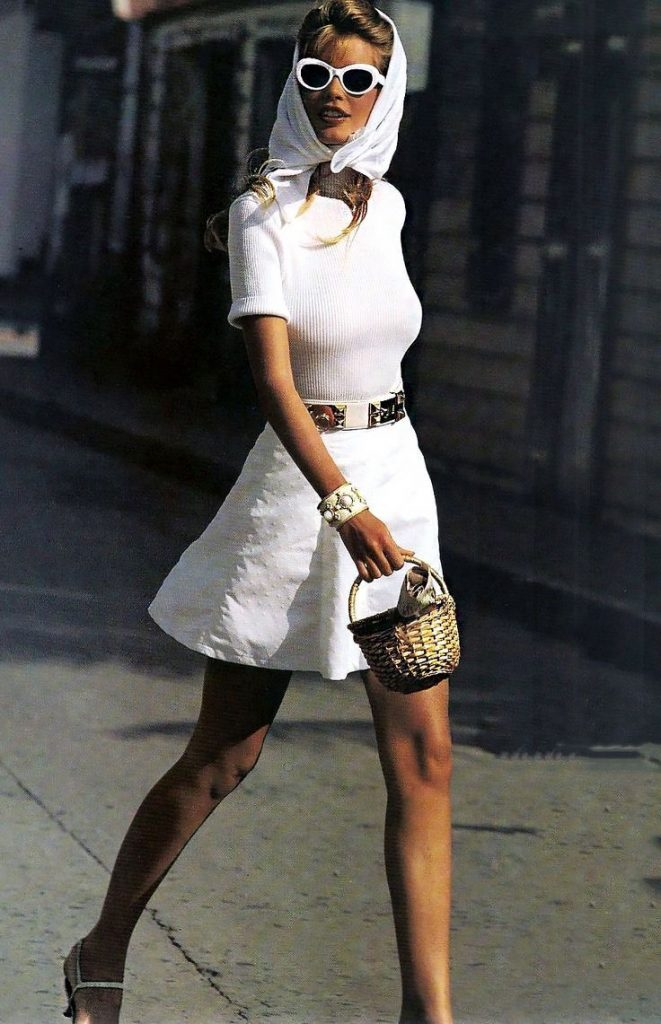 Timeless Fashion: How to Recreate 3 Classic 90s Looks Using your Favorite Modern Day Pieces | Greta Hollar |Classic 90s Looks by popular Nashville fashion blogger, Greta Hollar: image of a woman wearing a white head scarf, white rib knit shirt, white swiss dot skirt, and white sunglasses.