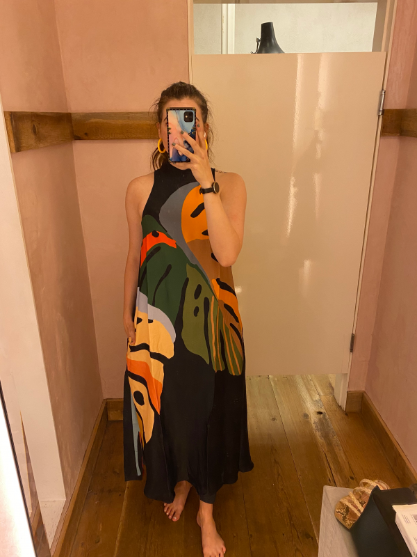 Anthropologie Summer Fashion Haul for the Tall Woman   Greta Hollar   Anthropologie Summer Fashion by popular Nashville tall fashion blogger, Greta Hollar: image of Greta Hollar wearing a Anthropologie Farm Rio Floral Halter maxi dress.